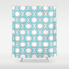 Polygonal pattern - Turquoise blue and Gray Shower Curtain