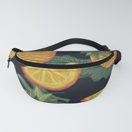 Oranges and Pineapple Pattern on Black Fanny Pack