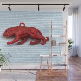 Red panther on blue grass Wall Mural