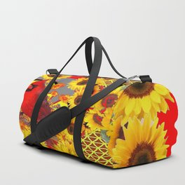 RED CARDINAL BIRD YELLOW SUNFLOWERS  ABSTRACT Duffle Bag