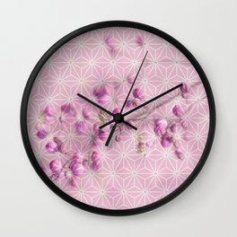 Flower buds, Star pattern montage Wall Clock