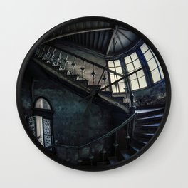 Twisted blue and gray staircase Wall Clock