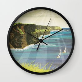 Ireland, Cliffs of Moher - Vintage Style Travel Poster Wall Clock