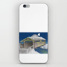 Vermont Covered Bridge at Christmas - Zentangle Illustration iPhone Skin