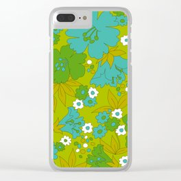 Green, Turquoise, and White Retro Flower Design Pattern Clear iPhone Case
