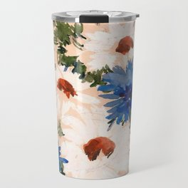 Watercolor Meadow Flowers. Bouquet. Cornflowers and Daisies Travel Mug