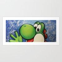 yoshi Art Prints featuring Yoshi  by Sam Skyler