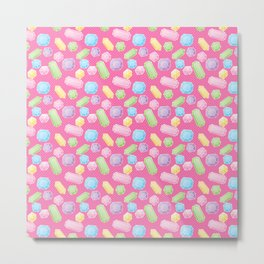Colorful Doodle Gems Pattern on a Bright Pink Background Metal Print