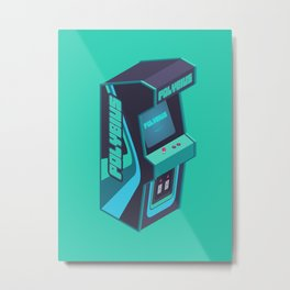 Polybius Arcade Game Machine Cabinet - Isometric Green Metal Print