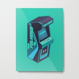 Polybius Arcade Game Machine Cabinet - Isometric Green Metal Print