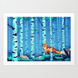 Fox and Birches Art Print