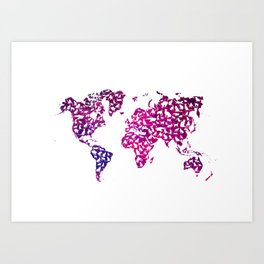 world map with cats kitty art  Art Print