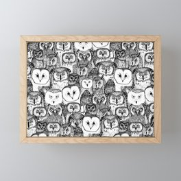 just owls black white Framed Mini Art Print