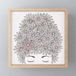 Mind full of flowers. Head with daisy flowers and eyes closed Framed Mini Art Print