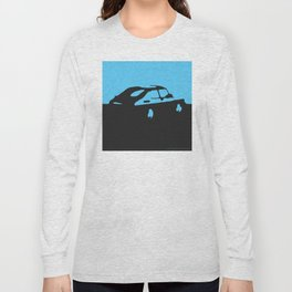 Saab 900 classic, Light Blue on Black Long Sleeve T-shirt
