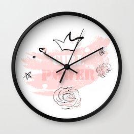Girl Power rose blush Wall Clock