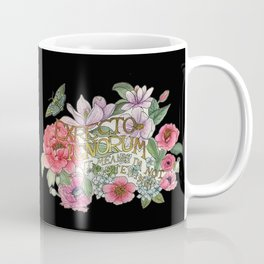 Watercolour Botanical Floral Quote / Expecto Ignorum on black Coffee Mug