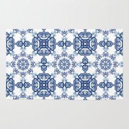 blue garden mandala Rug