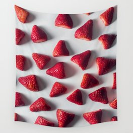 FRESH - CUT - STRAWBERRIES - PHOTOGRAPHY Wall Tapestry