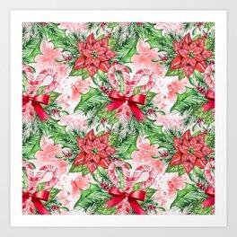 Poinsettia & Candy cane Art Print