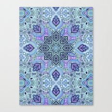 Navy Blue, Mint and Purple Boho Pattern  Canvas Print