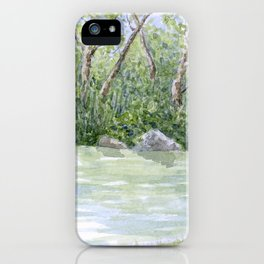 Lake Landscape Watercolor  iPhone Case
