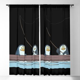 Penguins are fishing on the boat Blackout Curtain
