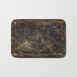 Vintage Montana Railroad Blueprint Bath Mat