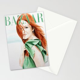 Harper's Bazaar Magazine Cover. Julianne Moore. Fashion Illustration Stationery Cards