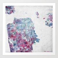 san francisco map Art Prints featuring San Francisco map by MapMapMaps.Watercolors