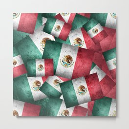 Grunge-Style Mexican Flag Metal Print