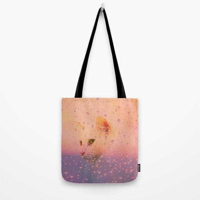 White Cat, rainy Day Tote Bag