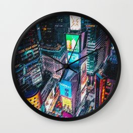 Times Square New York City Neon Lights Nighttime Landscape Painting by Jeanpaul Ferro Wall Clock