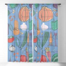 fall veggies blue Sheer Curtain