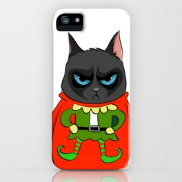 Black Cat in Christmas Sweater  05 iPhone Case