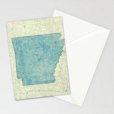 Arkansas State Map Blue Vintage Stationery Cards