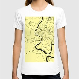 Bangkok Thailand Minimal Street Map - Pastel Yellow and Black T-shirt