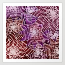 FLORAL IN RED AND VIOLET Art Print