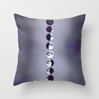 moon phases Throw Pillows featuring Moon Phases by Rebel June