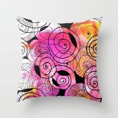 messy spirals Throw Pillow