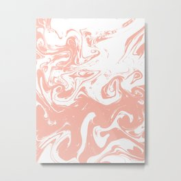 Marble pink 2 Suminagashi watercolor pattern art pisces water wave ocean minimal design Metal Print