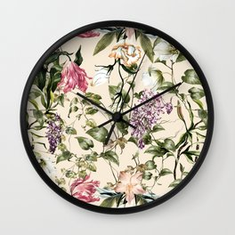 Pastel colors botanical garden Wall Clock