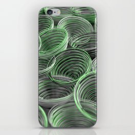 Black, white and green spiraled coils iPhone Skin