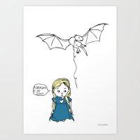 targaryen Art Prints featuring Daenerys Targaryen by Jazzlikestodraw