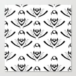 Manly Beard and Straight Razor Pattern Canvas Print
