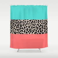 the national Shower Curtains featuring Leopard National Flag XVII by M Studio