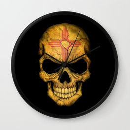 Dark Skull with Flag of New Mexico Wall Clock