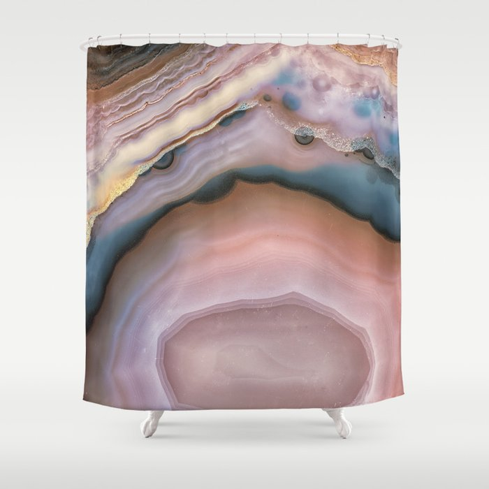 Pink and Blue agate 0425 Shower Curtain