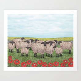 Suffolk sheep in a field with poppies Art Print