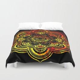 Fiery Sun Mandala Duvet Cover